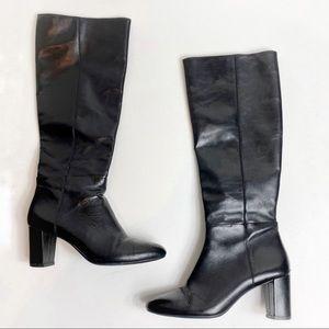 Michael Kors Sleek Black Leather Heel Boots
